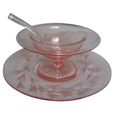 Pink Compote with Etched Plate Glass Ladle
