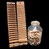 Primitive Wood Cigar Mold with cigar bands in jar