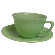 Fire King Jadeite Jane Ray Cup Saucer
