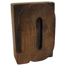 Printers Block Wood Letter Q