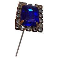"Hat Pin Rhinestone Royal Blue  8"""