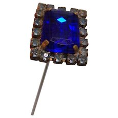 Hat Pin Rhinestone Royal Blue  8""