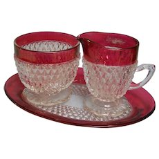 Diamond Point Ruby Flash Creamer Sugar Under Plate Indiana Glass