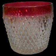 Diamond Point Ruby Flash Ice Bucket Indiana Glass