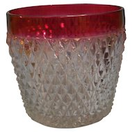 Diamond Point Ruby Flash Ice Bucket Indiana Glass