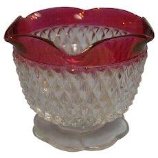 Diamond Point Ruby Flash Jelly Mayo Dish Indiana Glass