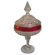 Diamond Point Ruby Flash Covered Compote Indiana Glass