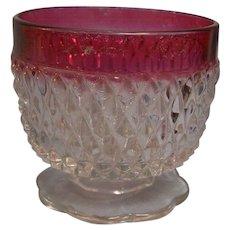 Diamond Point Ruby Sugar Jelly Bowl Indiana Glass