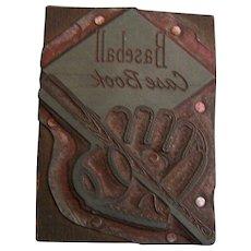 Letterpress Printing Block Baseball Book case