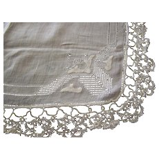 Handkerchief Pulled Thread Drawnwork Tatted Lace Linen