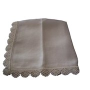 Handkerchief Linen with crochet and Thread pulled Edging