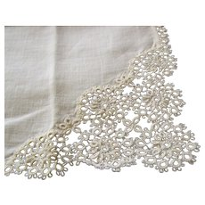 Handkerchief Linen Tatted Lace 10 inch by 10 inch