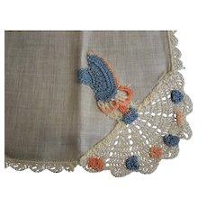 Handkerchief Linen Crochet Corner Girl