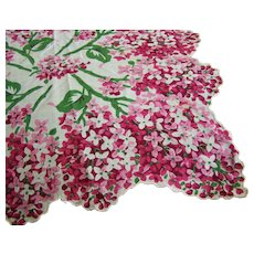 Handkerchief Floral Pink White Scalloped