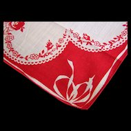 Handkerchief Red and White Floral