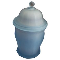 BLue Satin Frosted Candy Jar w/ Lid  Indiana Glass