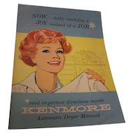 Vintage 1960's Kenmore Automatic Dryer Owners Manual