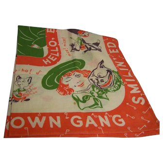 Smilin' Ed McConnell's Buster Brown Gang scarf or oversized hanky 1950