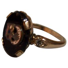 Odd Fellow Rebekah 10K Rolled Gold Ring Black with Rhinestone