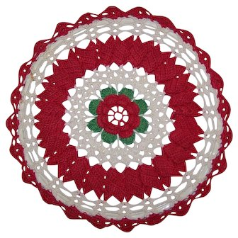 Crochet Hot Pad Cover Red Floral