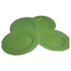 """Mckee Laurel Jadeite Dinner Plate 9"""" Skokie Green Set of 4"""