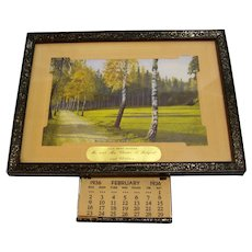 Framed Picture with retractable Calendar 1936