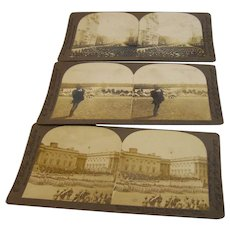 Stereo View Cards Military Photo Set of 3 Roosevelt Inauguration