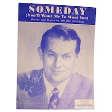 Sheet Music Someday Jimmie Hodges Piano 1949