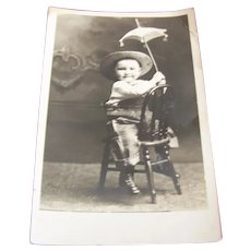 Real Photo Postcard Cowgirl Child