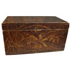 Flemish Hand tooled Wood Storage Box Large