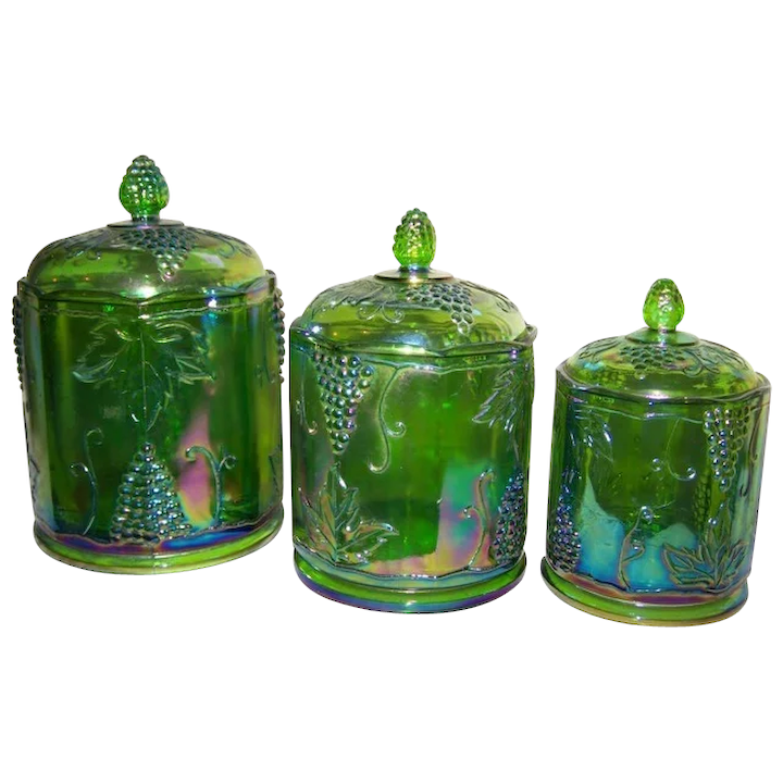 Canisters Indiana Harvest Grape Green set of 3