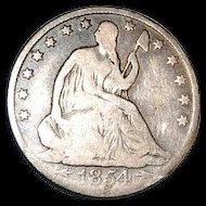 Liberty Seated 1854 O Half Dollar