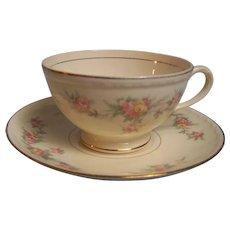 Homer Laughlin Tea Cup Saucer Eggshell Georgian