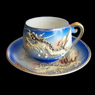 Dragonware Cup and Saucer with Geisha Lithophane Japan