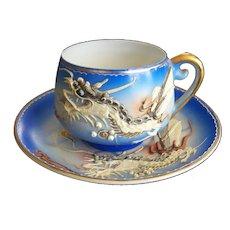 Dragonware Cup and Saucer with Geisha Lithophane Japan