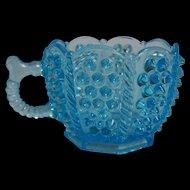 Sapphire Blue Octagonal  Hobnail Custard Cup Ca 1891.