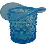 Fenton Blue Opalescent Hobnail Top Hat Ashtray Toothpick Holder