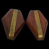 Shoe Clip Wood Goldtone Pair