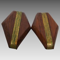 Shoe Clip Wood Goldtone Pair