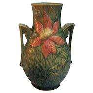 Roseville Clematis Green Vase Handled 108-8