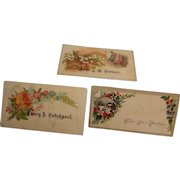 Victorian Calling Card  exposed Names set of 3