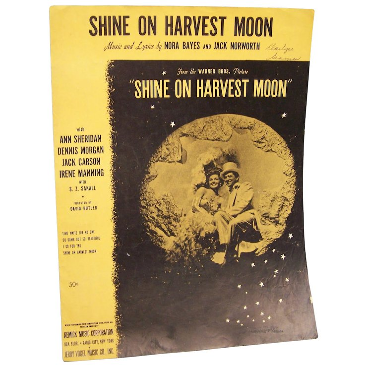 Sheet Music Shine On Harvest Moon 1941 Wings Antiques