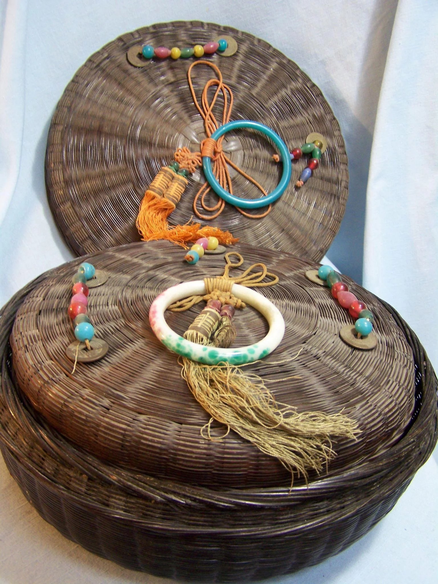 Wicker Sewing Baskets with Beaded Lids set of 2 Wings
