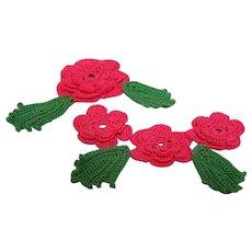 Rose Crochet appliques set of 2