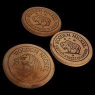 Wooden Nickel Token Prairedrama Centennial 1854-1954 Set of 3