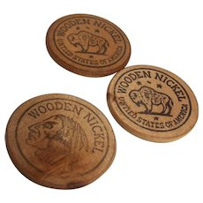 Wooden Nickel Token Prairedrama Centennial 1854-1954 Set of 3