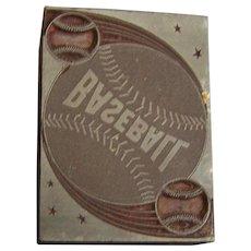 Letterpress Printing Block Baseball