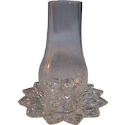 Pressed Glass Diamond Sunburst Finger Candle Holder
