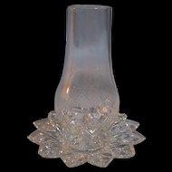 Pressed Glass Diamond Sunburst Finger Candle Holder