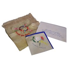 WWI Handkerchief Silk from France  Allie Flags Embroidered set of 2
